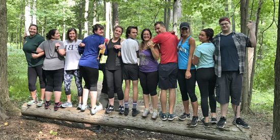 Team building ropes course at Laurelville, a Christian Retreat Center