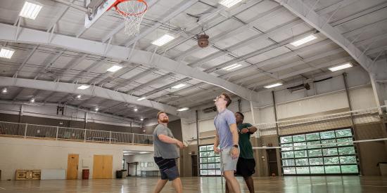 Indoor gymnasium at Laurelville, a Christian Retreat Center